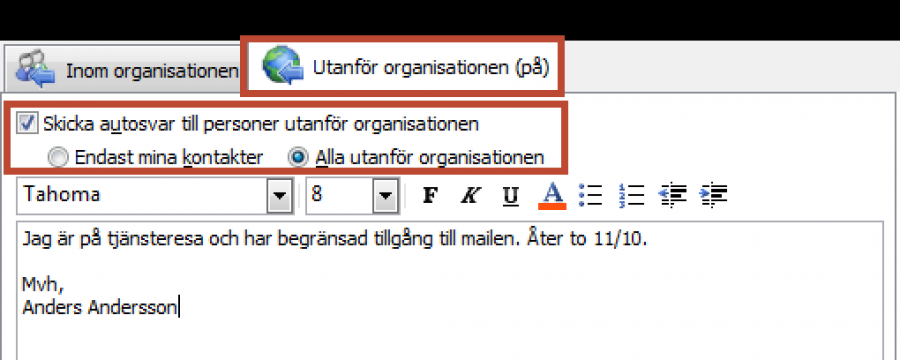 Autosvar I Outlook Excelbrevet