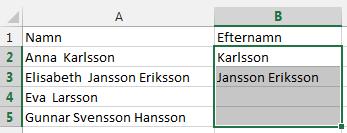 smart snabbfyllning Excel 2013
