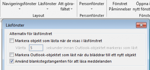 markera som läst outlook