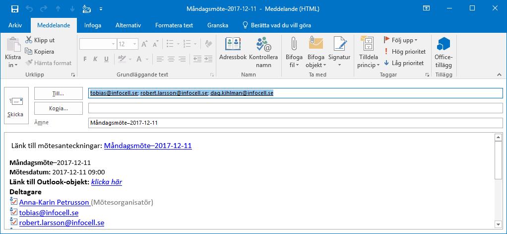 Använd Outlook för mötesplanering och OneNote för mötesanteckningar