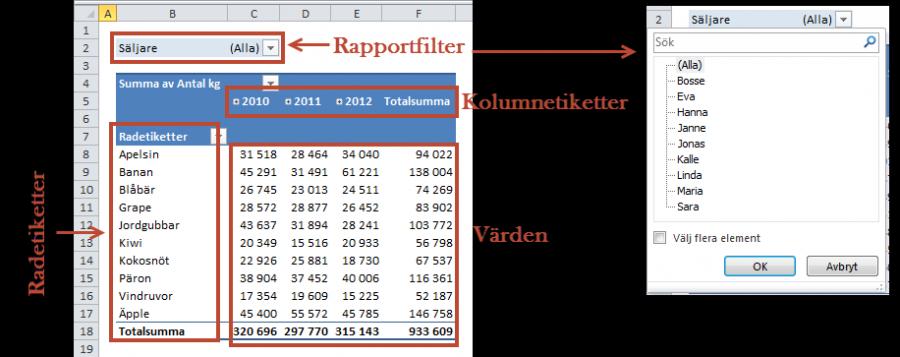 pivottabell rapportfilter