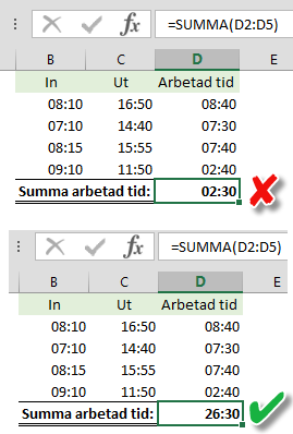 problem vid summering av tid i Excel