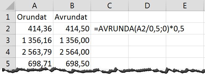 AVRUNDA i Excel
