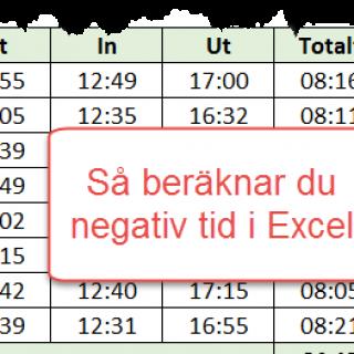 Negativ tid Excel