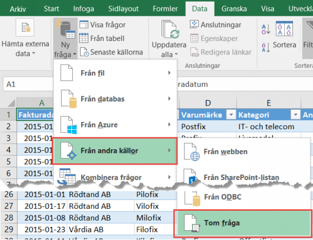 prefix tabell