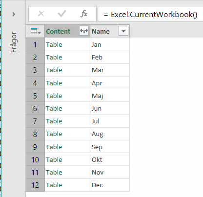 Ta bort tabell Power Query