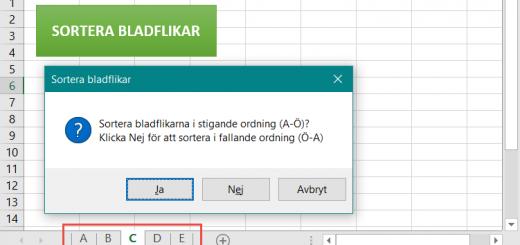 sortera bladflikar Excel