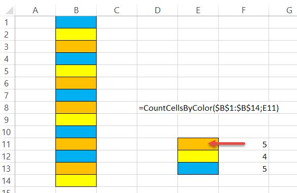 Räkna celler med fyllningsfärg