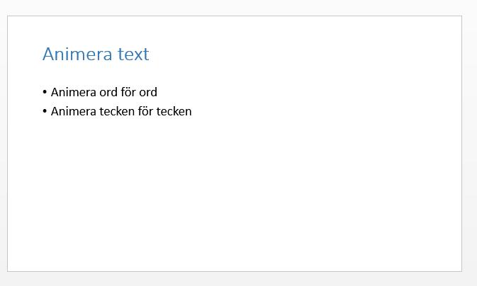Animera text i PowerPoint