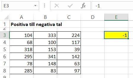 Ändra negativa tal till positiva tal