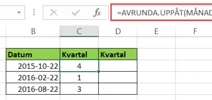 Visa kvartal från datum