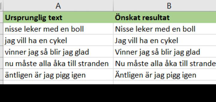 omvandla bokstäver i Excel