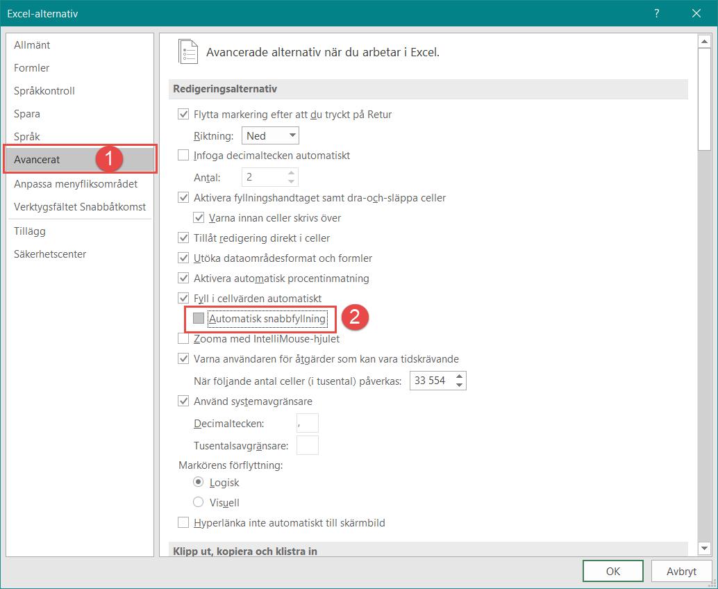 avaktivera Snabbfyllning Excel