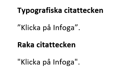 Raka citattecken i Word