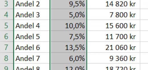Skydda en kolumn i Excel