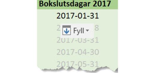 Fyll serie Excel