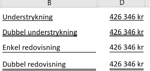 understrykning Excel
