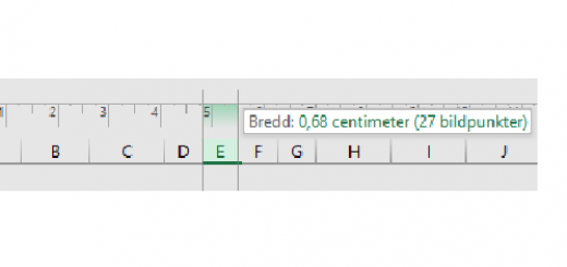 kolumnbredd och radhöjd i Excel