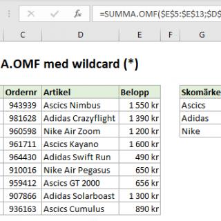 SUMMA.OMF SUMIFS wildcard jokertecken