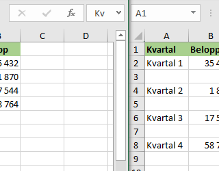 infoga varannan rad i Excel