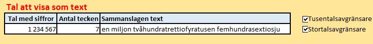 konvertera tal till text i Excel
