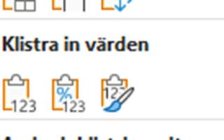 klistra in värden Excel