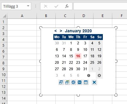 Miniatyrkalender och datumväljare