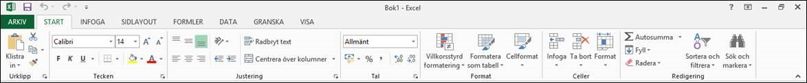 Excel 2013 programfönster gränssnitt