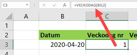 datum och veckodag