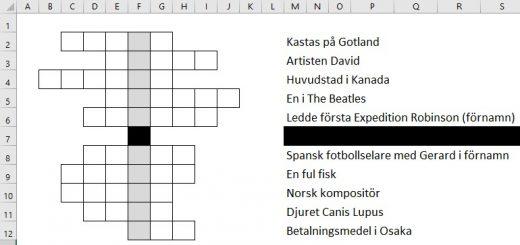 korsord Excel