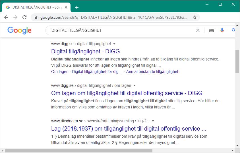 Skärmbild av sökning på Goggle efter texten: DIGITAL TILLGÄNGLIGHET