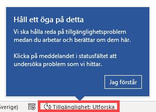 Skärmbild med dialogruta som visar var man kan klicka på Aktivitetsraden, för att kontrollera ett dokuments tillgänglighet.