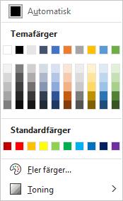 Skärmbild med en färgpalett.