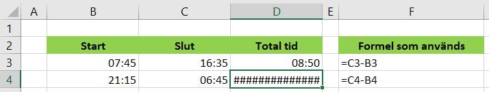 räkna tid över midnatt
