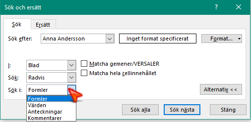 Sök med alternativ