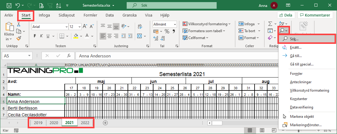 Verktyget Sök i Excel