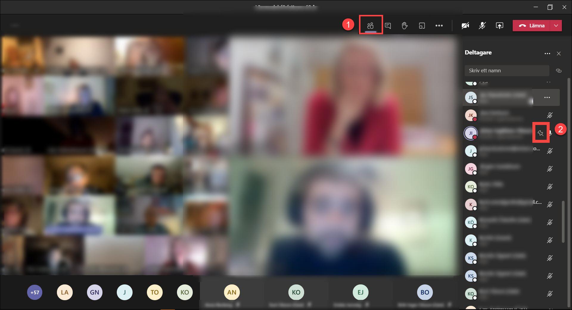 Teams-möte med större bilder på personer som är fästa i mötet.