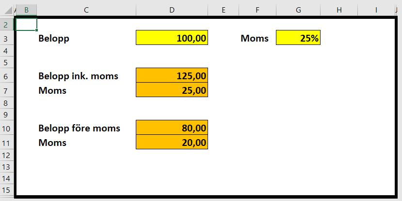 Räkna moms på ett belopp