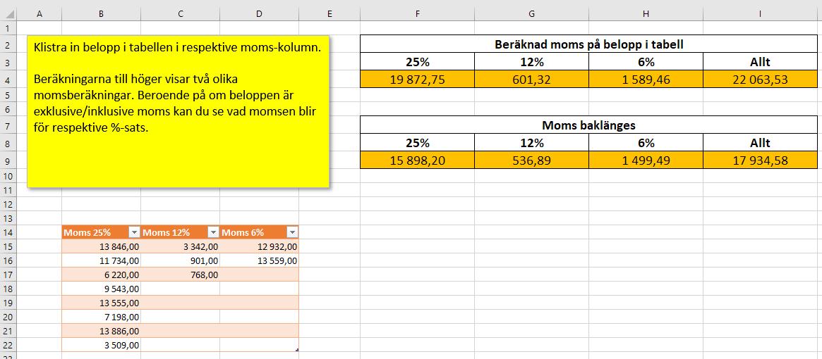 Räkna moms på flera belopp