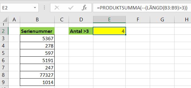 Produktsumma räknar antal tecken större än 3