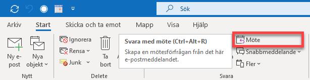 Menyalternativet Möte i Outlook.